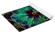 Two Hibiscus Glowing Edges Abstract Yoga Mat