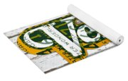Vernors Beverage Company Recycled Michigan License Plate Art On Old White Barn Wood Yoga Mat