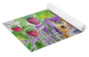 Watercolor - Field Mouse With Wild Strawberries Yoga Mat