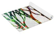 Watercolor Forest Silhouette Summer Yoga Mat