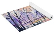 Watercolor - Sunrise At The Pond Yoga Mat