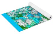 Waxleaf Privet Blooms In Aqua Hue Abstract With Aqua Frame Yoga Mat