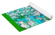 Waxleaf Privet Blooms In Aqua Hue Abstract With Green Frame Yoga Mat