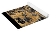 Waxleaf Privet Blooms In Black And White - Color Invert With Golden Tones Abstract Yoga Mat