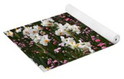 White Narcissus With Pink English Daisies In A Spring Garden Yoga Mat