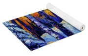 Winter Woodland Sunset Modern Impressionism Palette Knife Oil Painting Yoga Mat