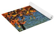 Wooden Chairs On Autumn Lake Yoga Mat