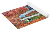 Wooden Park Bench In Dry Leaves  Yoga Mat