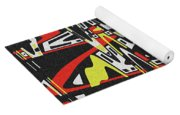 Yellow Black Red White Drawing Abstract Yoga Mat