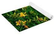 Yellow Lily Flowers Yoga Mat