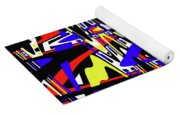 Yellow Red Blue Black And White Abstract Yoga Mat