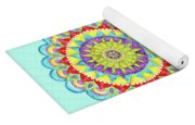 Mandala Of Many Colors On Turquoise Yoga Mat