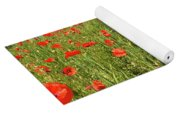 Beautiful Fields Of Red Poppies Yoga Mat