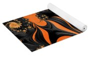 Black And Orange  Swirls Yoga Mat