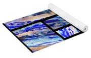 Blue Agate Mosaic Watercolor Collage Yoga Mat