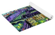 Paris View With Gargoyles Diptych Oil Painting Right Panel Yoga Mat