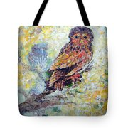 Acrylic Painting Fuzzy Yellow Owl  Tote Bag