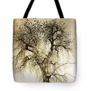 Bird Tree Fine Art  Mono Tone And Textured Tote Bag
