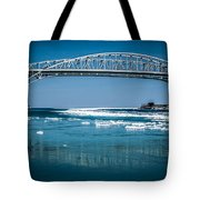Blue Water Bridges With Reflection And Ice Flow Tote Bag