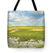 Blueberry Field With Blue Sky And Clouds In Maine Tote Bag