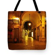 Clock Tower Venice Italy And The Path To Merceria Tote Bag