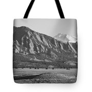Colorado Rocky Mountains Flatirons With Snow Covered Twin Peaks Tote Bag