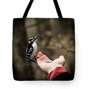 Downy Woodpecker In Hand Tote Bag