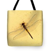 Dragonfly On Yellow Wall Tote Bag