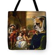 English Bulldog Art Canvas Print - The Garden Party Tote Bag