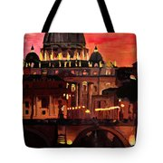 Eternal City  Rome St Peter Vatican At Dusk Tote Bag