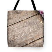 Flower Frame On On Wood Background Tote Bag