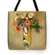 Flowers In A Painted Vase Tote Bag by Odilon Redon