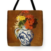 Geraniums And Other Flowers In A Stoneware Vase Tote Bag