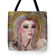 Girl With The Rainbow Hair Tote Bag