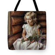 Girl With Wild Flowers Tote Bag
