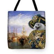 Japanese Spitz Art Canvas Print Tote Bag