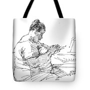 Lady On Smartphone  Tote Bag