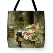 Little Boy At The Market Tote Bag
