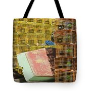 Lobster Traps And Dinghy On Coast In Maine Tote Bag