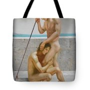 Original Man Body Oil Painting  Gay Art -two Male Nude By The Sea Tote Bag