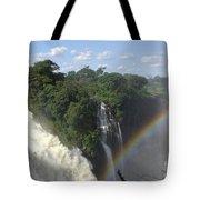 Mist And Rainbow At Victoria Falls Tote Bag