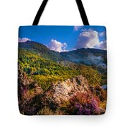 Overview Of The Loch Achray   Tote Bag