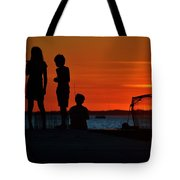 Perfect Ending - 3 Friends On A Pier As The Hot Summer Sun Sets On The Indian River Bay Tote Bag