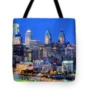 Philadelphia Skyline At Night Evening Panorama Tote Bag