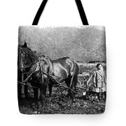 Plowing The Land C. 1890 Tote Bag