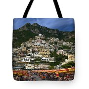Positano Crowded Beach Tote Bag