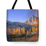 Prusik Peak Behind Larch Trees Tote Bag
