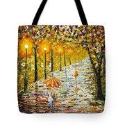 Rainy Autumn Beauty Original Palette Knife Painting Tote Bag
