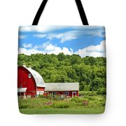 Red Farmstead In Summer Tote Bag
