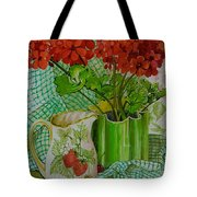 Red Geranium With The Strawberry Jug And Cherries Tote Bag